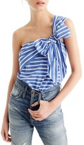 J.Crew Women's Stripe Cotton One-Shoulder Bow Top