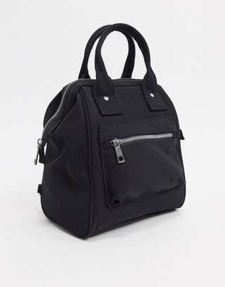 ASOS DESIGN backpack with top handle in black