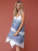 West Coast Wardrobe Sandy Breeze Tie Dye Strappy Flowy Dress in Sky Blue
