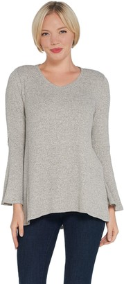 H by Halston Rib Knit V-Neck Bell Sleeve Top
