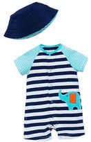 Offspring Babys Two-Piece Striped Bodysuit and Bucket Hat Set
