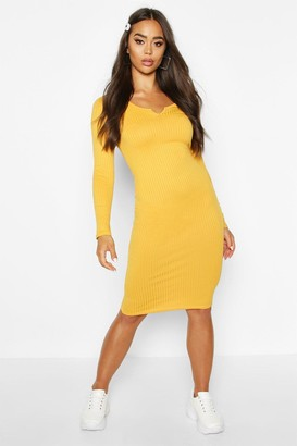 boohoo Notch Front Jumbo Ribbed Midi Dress