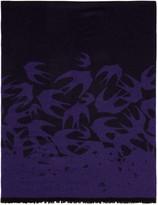 McQ by Alexander McQueen Purple Wool Swallows Scarf