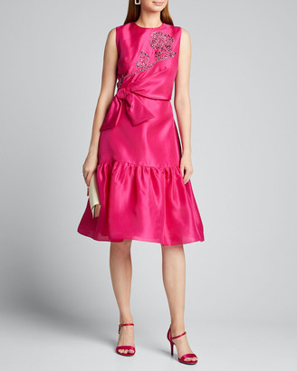 Carolina Herrera Embroidered-Gazar Ruffled Dress