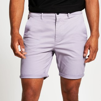 River Island Mens Purple skinny chino short