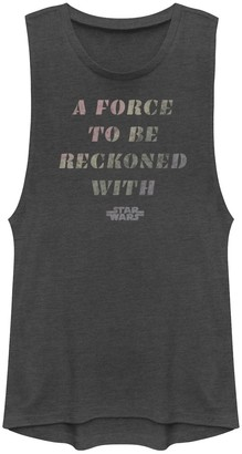 """Star Wars Juniors' A Force To Be Reckoned With"""" Gradient Text Muscle Tank"""