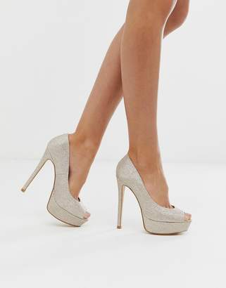 Truffle Collection sparkly peep toe platform heeled shoes in light gold