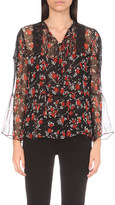 The Kooples Plus Size Floral-print silk top