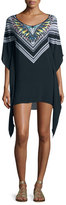 Red Carter Feather Warrior Coverup, Multicolor