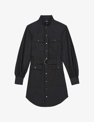 The Kooples Belted black cotton mini dress