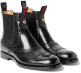 Gucci Polished-Leather Chelsea Brogue Boots
