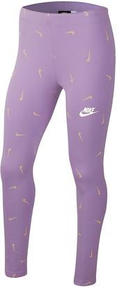 Nike Older Girls Favorites Printed Legging - Violet