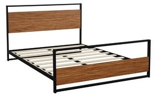 Overstock Full Size Metal and Wood Platform Bed Frame with Headboard and Footboard