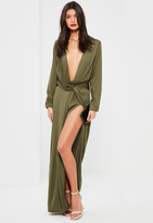Missguided Green Wrap Front Shirt Maxi Dress