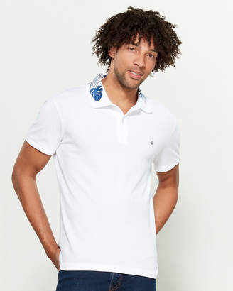 Brooksfield Embroidered Collar Short Sleeve Polo