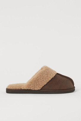 H&M Faux Shearling-lined Slippers - Brown