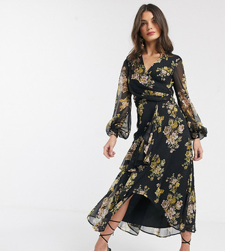 ASOS DESIGN wrap waist midi dress with double layer skirt and long sleeve in olive floral print