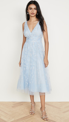 Marchesa Sleeveless Tulle Tea Length Gown