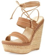 Stuart Weitzman Abandon Leather Ankle-Wrap Wedge Sandal, Meil