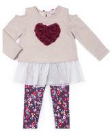 Little Lass Oatmeal Heart Ruffle Tunic & Floral Leggings - Toddler & Girls