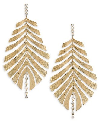 Hueb Bahia 18K Gold & Diamond Leaf Drop Earrings