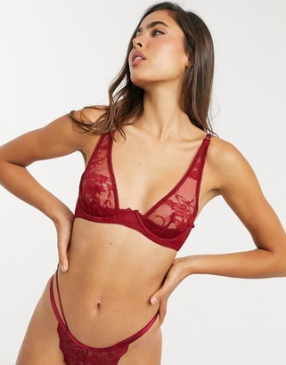 Coco de Mer Muse Sienna stretch lace high apex bra in red