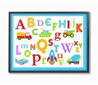 "Icons Stupell Industries Rainbow Alphabet Transportation Framed Giclee Texturized Art (11""x14""x1.5"")"