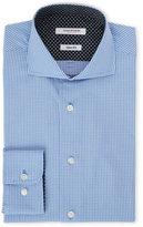 Isaac Mizrahi Slim Fit Navy Plaid Dress Shirt