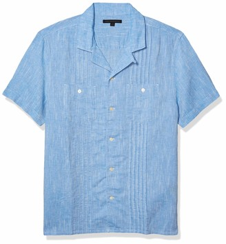 John Varvatos Men's Benny Easy FIT Guayabera Shirt with Chest Pockets