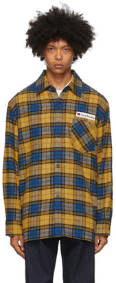 Acne Studios Yellow and Blue Flannel Logo Patch Shirt
