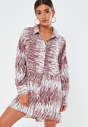 Missguided Pink Zebra Print Oversized Dip Back Shirt Dress