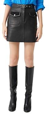 Maje Jisa Leather Mini Skirt