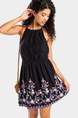 francesca's Wyanne Embroidered Flawless Dress - Black