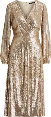Ralph Lauren Sequined Surplice Dress