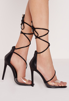 Missguided Perspex Toe Strap Lace Up Barely There Heels Black