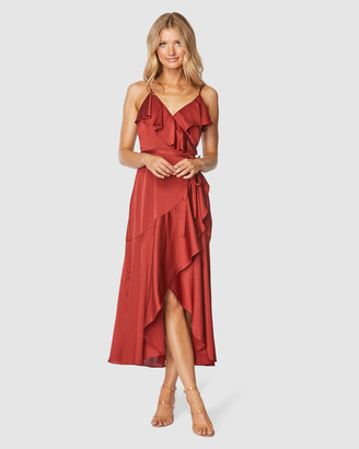 Pilgrim Women's Red Wrap Dresses - Adana Midi Dress - Size One Size, 10 at The Iconic