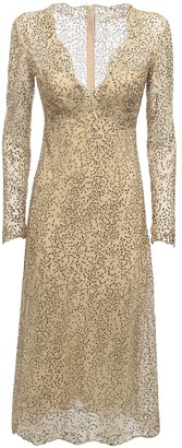 Ermanno Scervino V Neck Lace Midi Dress W/ Crystals