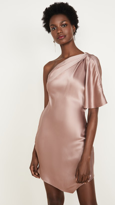 Cushnie One Shoulder Mini Dress with Cowl and Crystal Chain