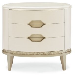 Caracole Compositions Adela Oval 3 Drawer Nightstand