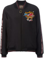 Roberto Cavalli embroidered cavalli cats bomber jacket - women - Silk/Cotton/Polyamide/Viscose - 38