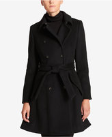 DKNY Petite Double-Breasted Fit & Flare Peacoat