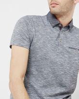 MOREAN Woven geo print polo shirt