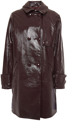 Claudie Pierlot Double-breasted Crinkled Patent-leather Coat