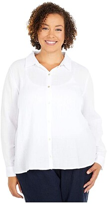 Eileen Fisher Plus Size Classic Collar Shirt (White) Women's Clothing