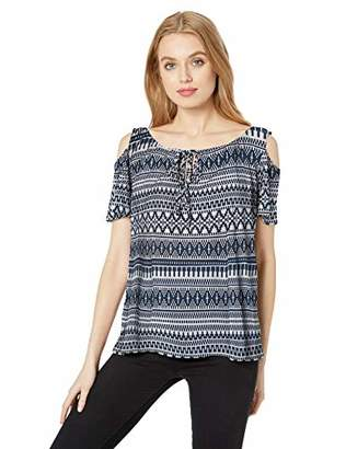 Star Vixen Women's Short Sleeve Cold-Shoulder ITY Knit Peasant