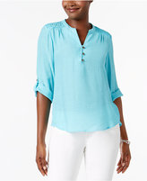 NY Collection Petite Crochet-Trim Henley Top