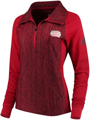 adidas Women's Red New England Revolution Logo Driven 2.5 Quarter-Zip Pullover Jacket