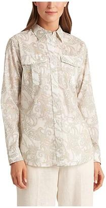 Lauren Ralph Lauren Floral Cotton Shirt (Mascarpone Cream Multi) Women's Clothing