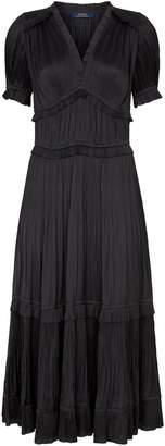 Polo Ralph Lauren Pleated Ruffle Midi Dress