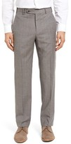 Zanella Men's Devon Flat Front Plaid Wool Trousers
